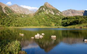 Природа, горы, вода, лес, камни, небо, Россия, пейзаж
