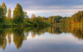 Природа, озеро, лес, небо, Россия
