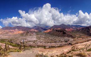 Jujuy, Argentina, Montagna obloka, cielo, stradale, Cacti, natura, paesaggio