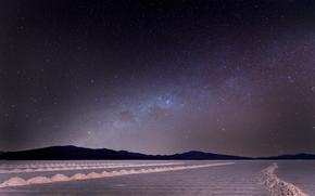 paesaggio, notte, cielo, Stella, Via Lattea, natura, sabbia, Montagne