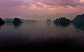 Море, туман, скалы, небо, облока, зоря, Вьетнам, природа, пейзаж