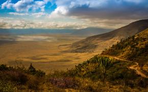 Африка, природа, пейзаж, горы, холмы, кусты, дорога, небо, облока, тучи