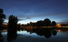 Город, пейзаж, деревья, вода, небо, облака, ночь, лето