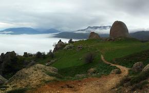 克里米亚, 俄国, 景观, 性质, TRACK, 草, 雾, 石头, 灌木, 树, 天空, 云