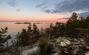 Ladoga, lago, Russia, natura, paesaggio, Rocce, alberi, cielo, nuvole