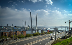 Vladivostok, Russia, ponte, stradale, città, macchinario, cielo, nuvole
