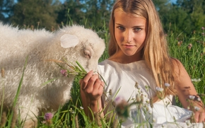 girl, view, Lamb, lamb, mood, meadow