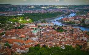 Prague, Czech Republic, Vltava river, Прага, Чехия, Влтава, панорама, здания, крыши, река, мосты