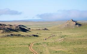 klify, droga, maszyny, trawa, niebo, chmury, Mongolia, charakter, krajobraz