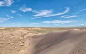 barkhan, duna, sabbia, deserto, cielo, obloka, paesaggio, natura