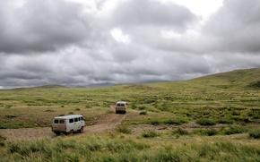 Hills, droga, maszyny, trawa, niebo, chmury, CHMURY, Mongolia, charakter, krajobraz