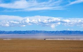 pustynia, Gobi, Mongolia, Góry, maszyny, niebo, chmury, charakter, krajobraz