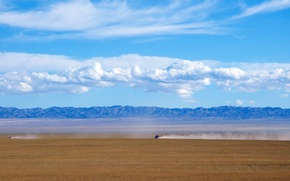 deserto, Gobi, Mongolia, Montagne, macchinario, cielo, nuvole, natura, paesaggio