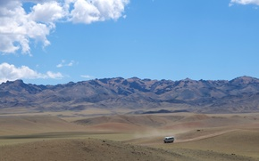 deserto, Gobi, Mongolia, Montagne, stradale, macchina, cielo, nuvole, natura, paesaggio