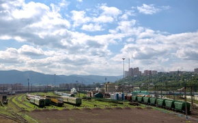 Krasnoyarsk, Russia, IRON, road, train, cars, Mountains, city, sky, clouds