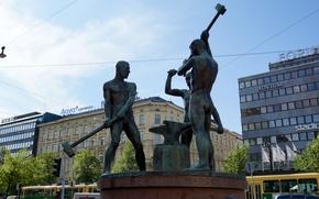 escultura, estatua, Herreros, martillo, yunque, ciudad, Helsinki, Finlandia