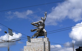 statue, Worker and Farmer, ussr, Moscow, Russia