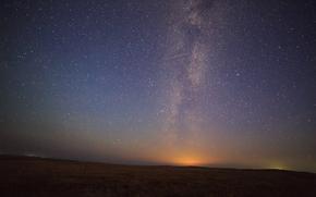 field, sky, grass, night, Star, nature, space, landscape