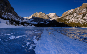 Rocky Mountain National Park, lake, ice, Mountains, trees, landscape