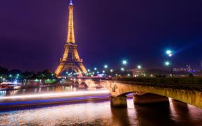 巴黎, 艾菲尔铁塔, 法国, 夜, 灯火