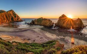 Arch, Big Sur's Pfeiffer, sunset, sea, Rocks, shore, landscape