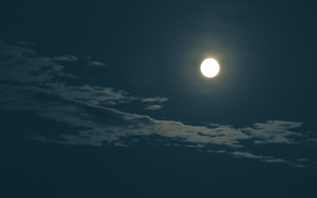 moon, night, sky, clouds, landscape
