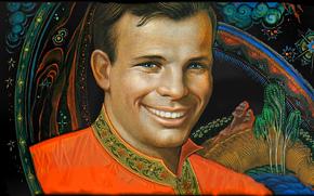 Piloto, lenda, astronauta, her?i, Yuri Gagarin, sorrir, quadro, espa?o