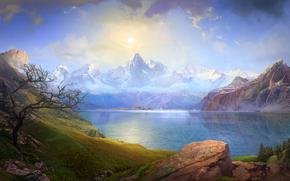 Mountains, lake, sky, clouds, boat, sail, Rocks, stones, tree