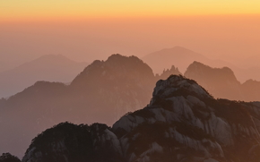 Huangshan, Anhui, China, Mountains, sunset, nature, landscape