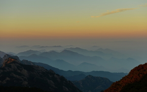 Huangshan, Anhui, China, Mountains, sky, sunset, nature, landscape