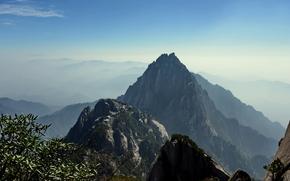 Huangshan, Anhui, Chiny, Góry, niebo, charakter, krajobraz
