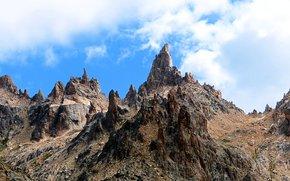 Patagonia, Argentyna, Góry, Andes, niebo, chmury