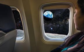 Полёт, Луна, Земля, Млечный Путь, звёзды, космос, путешествие