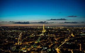 night, Paris, Eiffel, tower, Paris by night, eiffel, tour