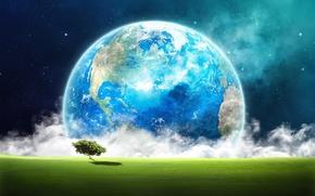 terra, spazio, albero, erba, nuvole, Stella