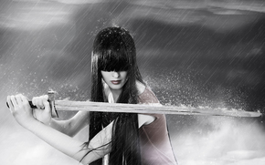 sword, rain, girl, brunette