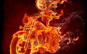 feu, fumer, Biker