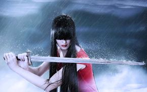 剣, 雨, 女の子, ブルネット