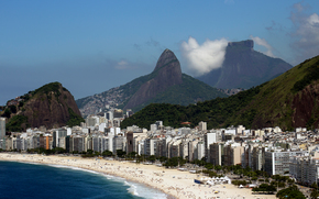 Rio de Janeiro, Brazylia, miasto, Góry, morze
