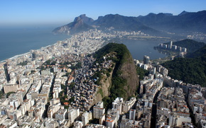 cidade, Montanhas, Brasil, mar, Rio de Janeiro