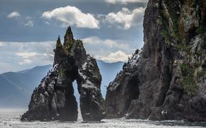 roccia, mare, Kamchatka, Avacha Bay, natura, GABBIANI