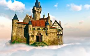 3D, замок, облако, небо