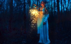 girl, lantern, night, forest, mood