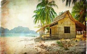 vintage, beach, Coast, palms, bungalow