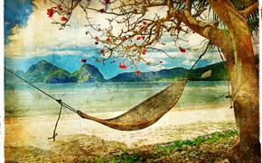 酿酒, 海滩, 滨, 吊床, 树
