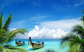 boats, palms, Samui island, Thailand
