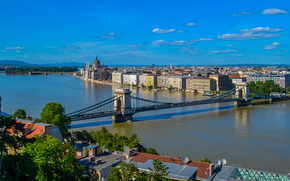 Budapest, Hungary, Danube River, Chain Bridge, Budapest, Hungary, Danube, Szechenyi Chain Bridge, river, bridge, building, panorama