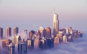 Jumeirah Lakes Towers, Dubai, Emirati Arabi Uniti, Jumeirah Lakes Towers, Dubai, UAE, costruzione, Grattacieli, nuvole