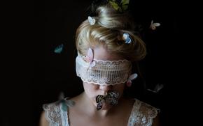 девушка, повязка, кружево, бабочки, настроение
