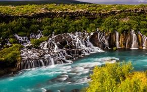 Hraunfossar, Hallmundarhraun, Borgarfjardarsysla, islanda, Fiume Hvita, Hraunfossar, Hadlmyundarhrёyn, Islanda, Fiume Hvitau, cascata, cascata, campo di lava, fiume